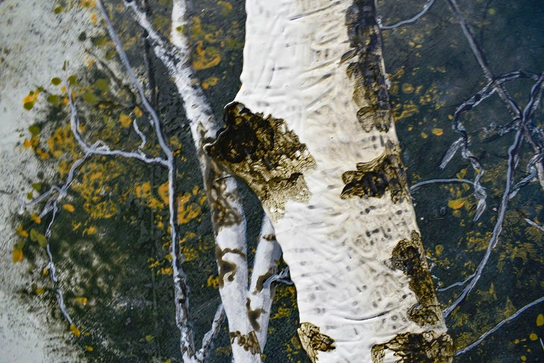 Birch Grove on the Hudson I: Landscape Painting on Panel of White Birch Forest  For Sale 3