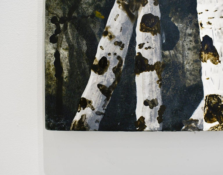 Birch Grove on the Hudson I: Landscape Painting on Panel of White Birch Forest  For Sale 5