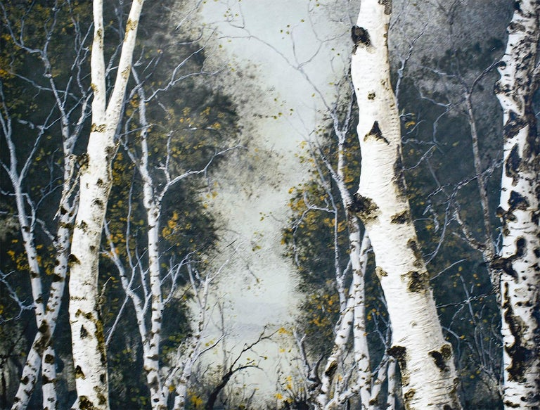 "Contemporary, romantic style landscape painting of a white birch forest and blue sky ""Birch Grove on the Hudson I"", painted by Frank Faulkner in 2008  38 x 46 inches, acrylic on wood panel The painting is continued around the sides so framing is not"