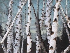 Birch Grove on the Hudson II: Minimalist Landscape Painting of Birch Tree Forest