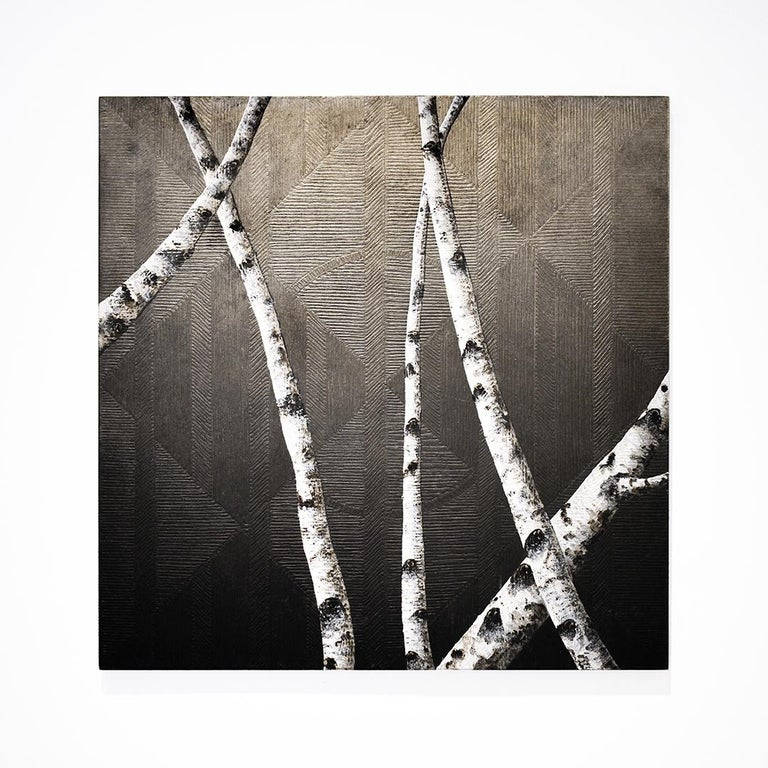 Birches I: Contemporary Minimalist Painting with Tree Branches on Black For Sale 2