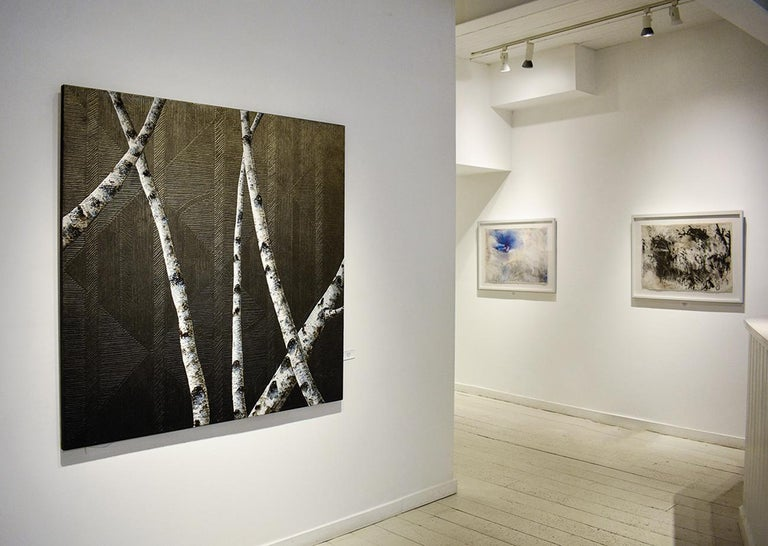 Birches I: Contemporary Minimalist Painting with Tree Branches on Black For Sale 7