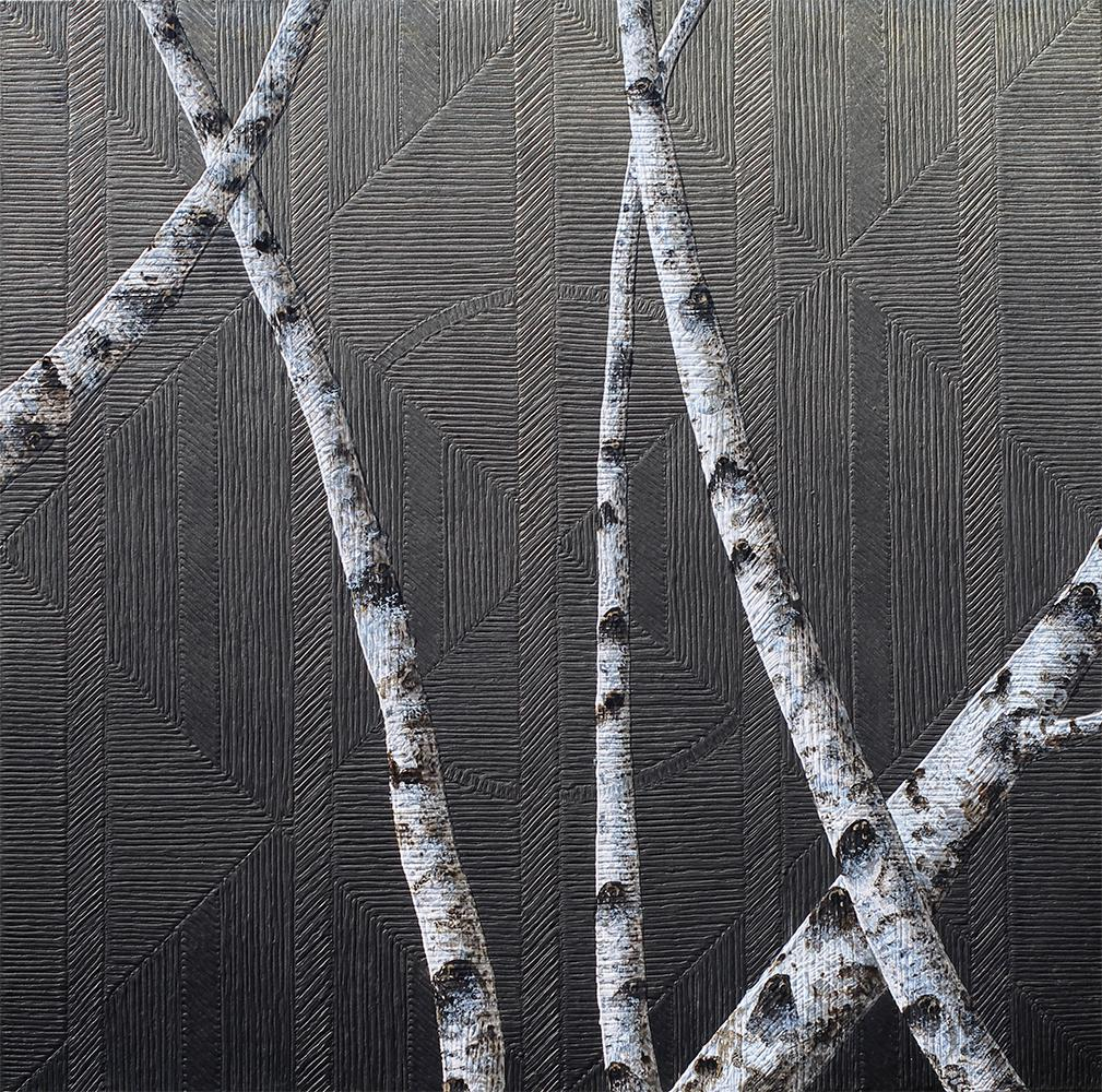 Birches I: Contemporary Minimalist Painting with Tree Branches on Black