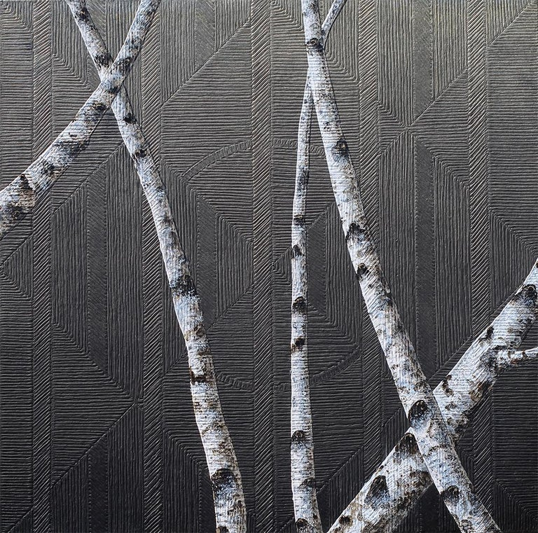 Frank Faulkner Landscape Painting - Birches I: Contemporary Minimalist Painting with Tree Branches on Black