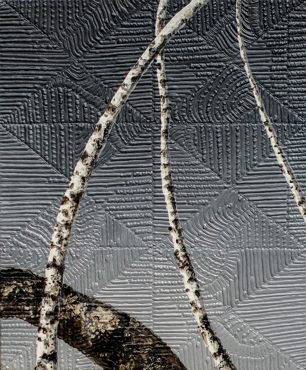 Birches IX: Minimalist Landscape Painting of Birch Trees on Dark Silver