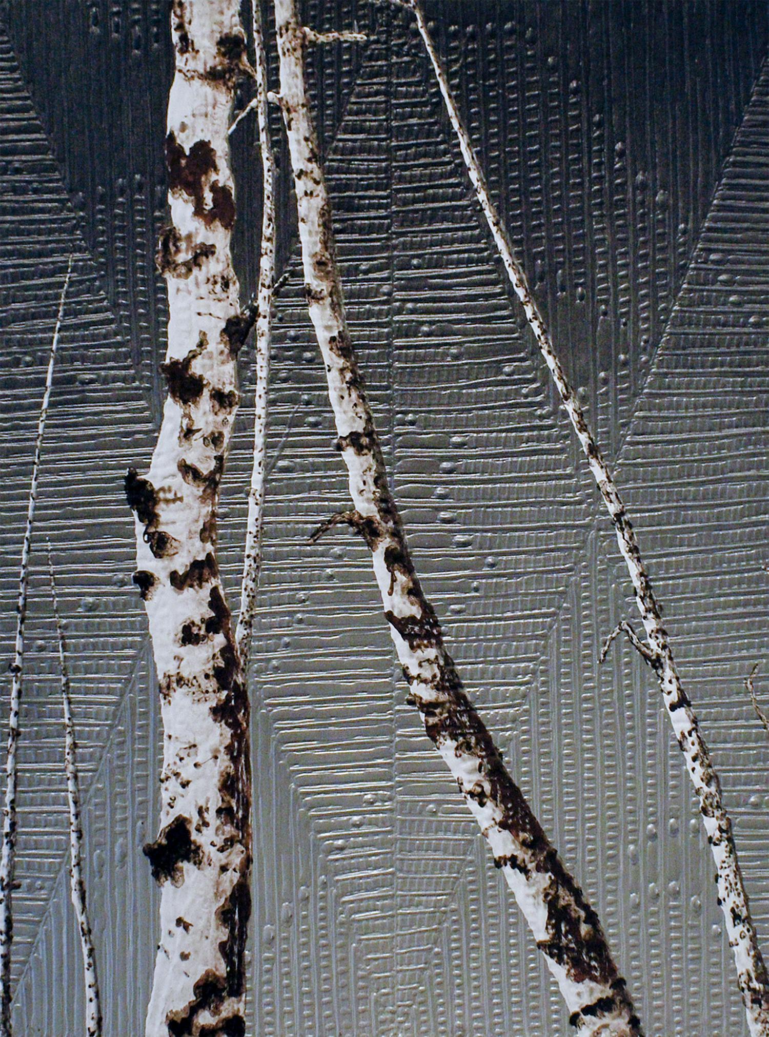 Birches VI: Minimalist Landscape Painting of Birch Trees on Dark Silver
