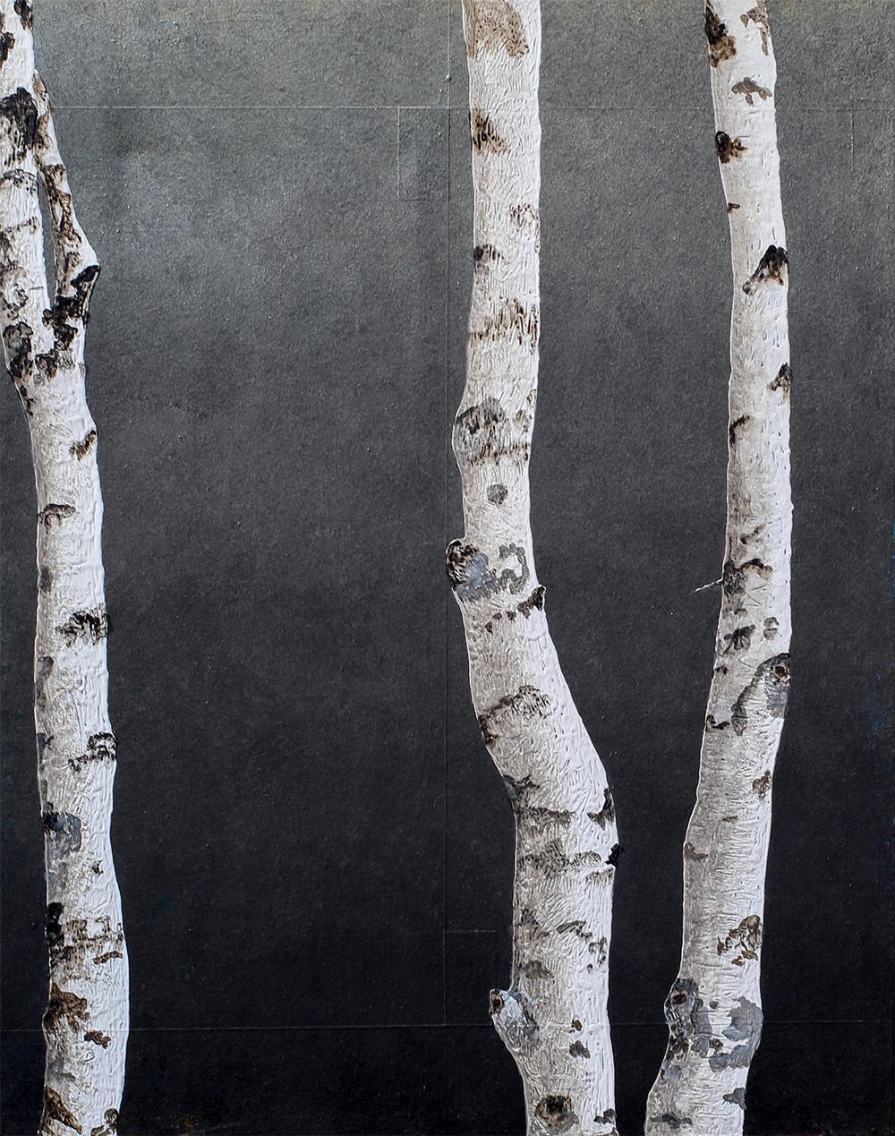 Birches III: Contemporary Minimalist Painting of Slender Birches