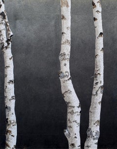 Untitled 114 (Birch Series): Contemporary Minimalist Painting of Slender Birches