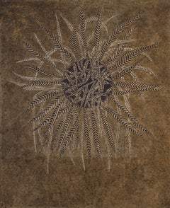 Untitled: Abstract Painting of Decorative Leaf Motif in Bronze & Gold