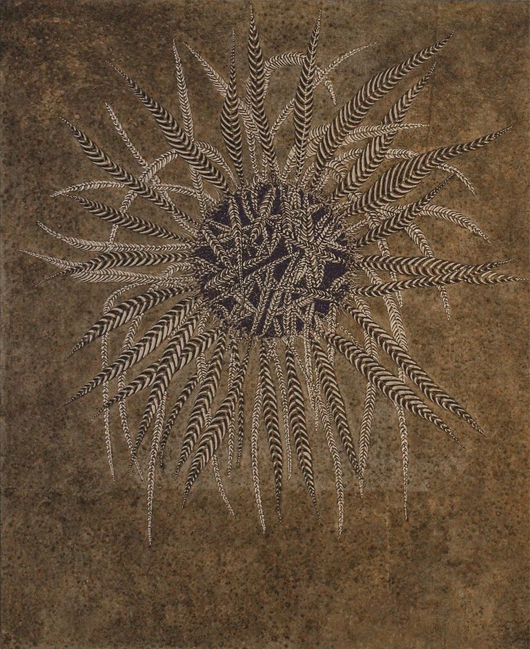 Frank Faulkner Figurative Painting - Untitled: Abstract Painting of Decorative Leaf Motif in Bronze & Gold
