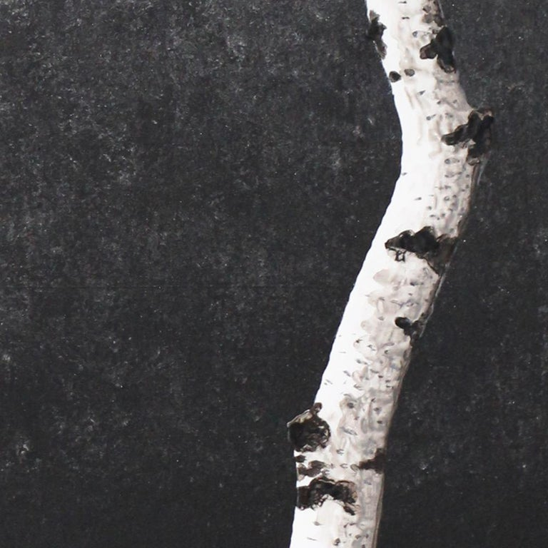 Untitled (Birch Series): Contemporary Minimalist Painting w/ Single Birch Branch - Black Landscape Painting by Frank Faulkner