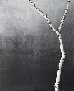 Untitled (Birch Series): Contemporary Minimalist Painting w/ Single Birch Branch