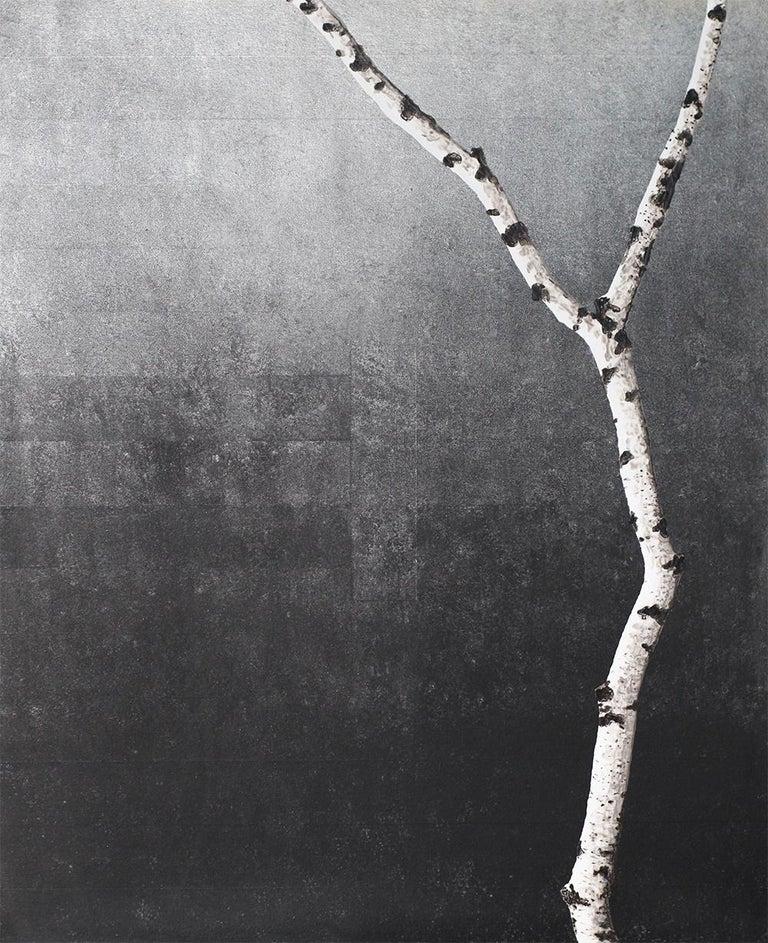Frank Faulkner Landscape Painting - Untitled (Birch Series): Contemporary Minimalist Painting w/ Single Birch Branch