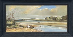 Ireland Seascape Landscape with Boats & Figures by Contemporary Irish Artist