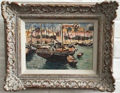 Frank Forty, Irish Impressionist, Boats in a French harbour,