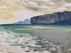 Mid 20th C. Irish Artist Watercolor Painting Madeira Coastal Landscape Scene