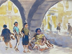 Mid 20th C. Irish Artist Watercolor Painting of A Continental Marketplace
