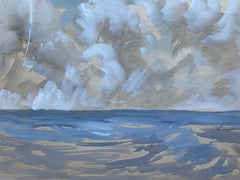 Mid 20th C. Irish Artist Watercolor Painting of Blue Sky Stormy Seascape