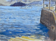 Mid 20th C. Irish Artist Watercolor Painting of Boats At Vigo Spain