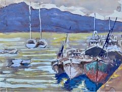 Mid 20th C. Irish Artist Watercolor Painting of Boats In Hilly Landscape