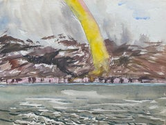 Mid 20th C. Irish Artist Watercolor Painting of Coastal Landscape with Rainbow