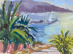 Mid 20th C. Irish Artist Watercolor Painting of Exotic Harbour In Spain