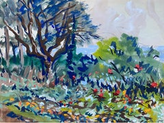 Mid 20th C. Irish Artist Watercolor Painting of Gardens At Reids Hotel