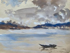 Mid 20th C. Irish Artist Watercolor Painting Of Grey Spanish Coastal Scene VIGO