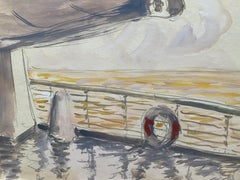Mid 20th C. Irish Artist Watercolor Painting of Promenade Deck on Cruise Ship