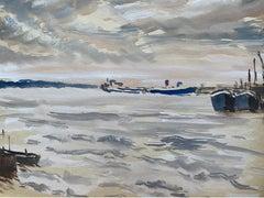 Mid 20th C. Irish Artist Watercolor Painting of Quiet Coastal Sea Southampton