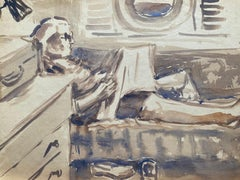 Mid 20th C. Irish Artist Watercolor Painting Portrait Of Lady Reading on Ship