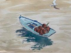 Mid 20th C. Irish Artist Watercolor Painting Spanish Blue Fishing Boat Vigo