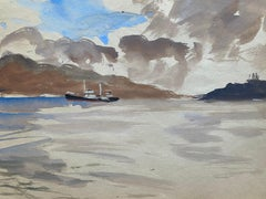 Mid 20th C. Irish Artist Watercolor Painting - Vigo Spain Coastal Landscape Boat