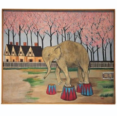 """Circus in Spring"" Naturalistic Painting with an Elephant"