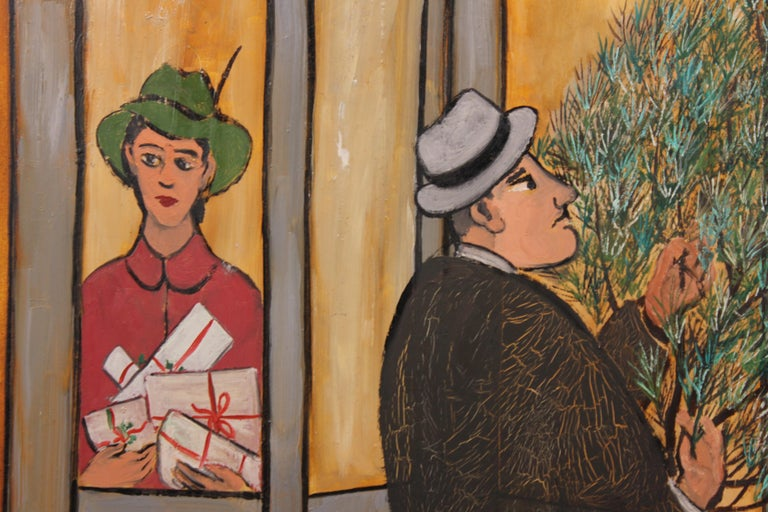Resolving Door at Christmas - Naturalistic Painting by Frank Freed