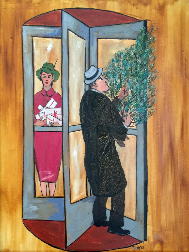 Resolving Door at Christmas - Painting by Frank Freed