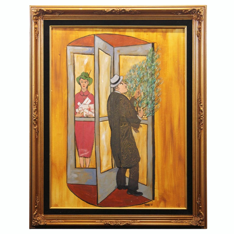 Frank Freed Figurative Painting - Resolving Door at Christmas