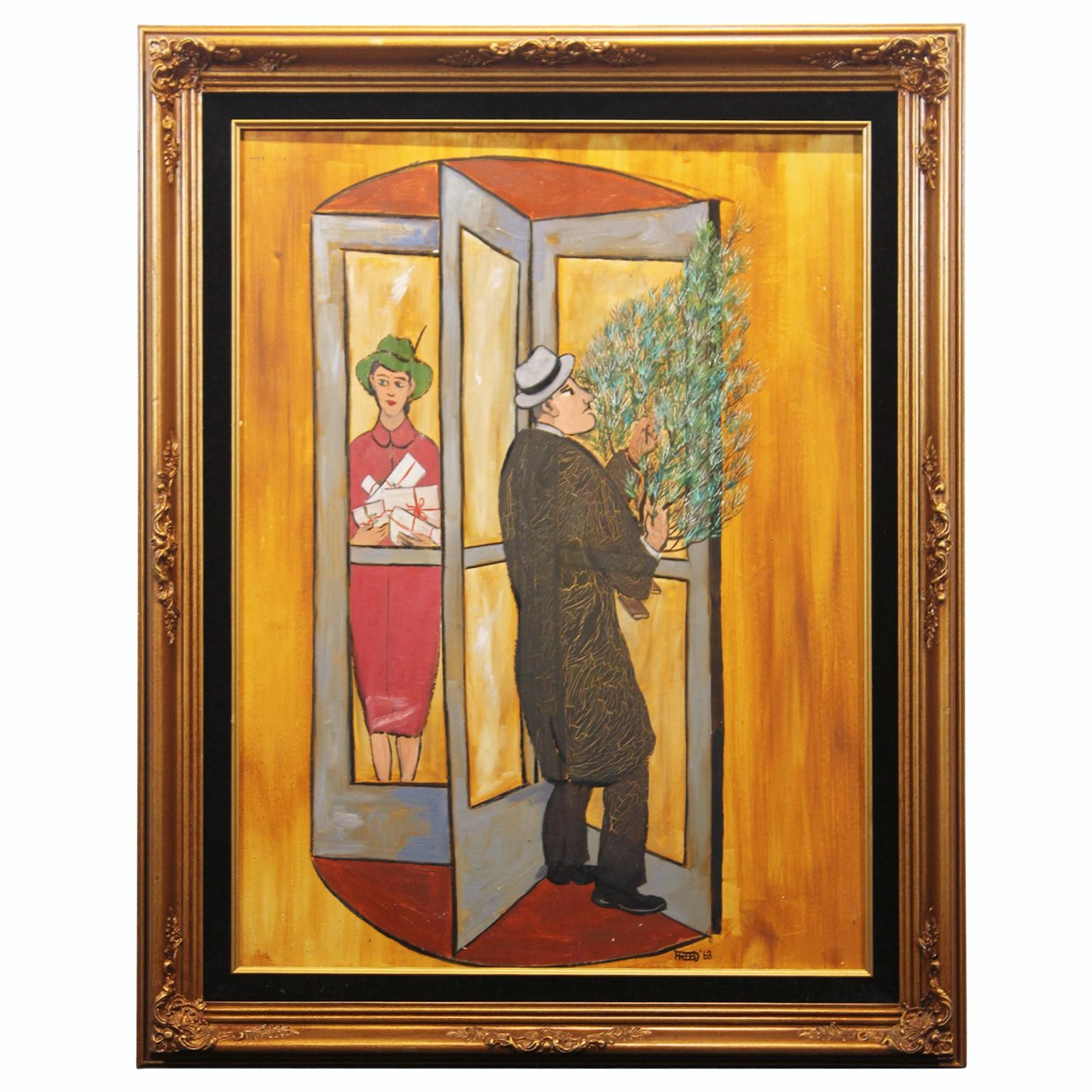 """""""Revolving Door at Christmas"""" Figurative Painting"""