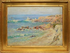 Impressionist Oil Painting View of Laguna Beach California by Frank French