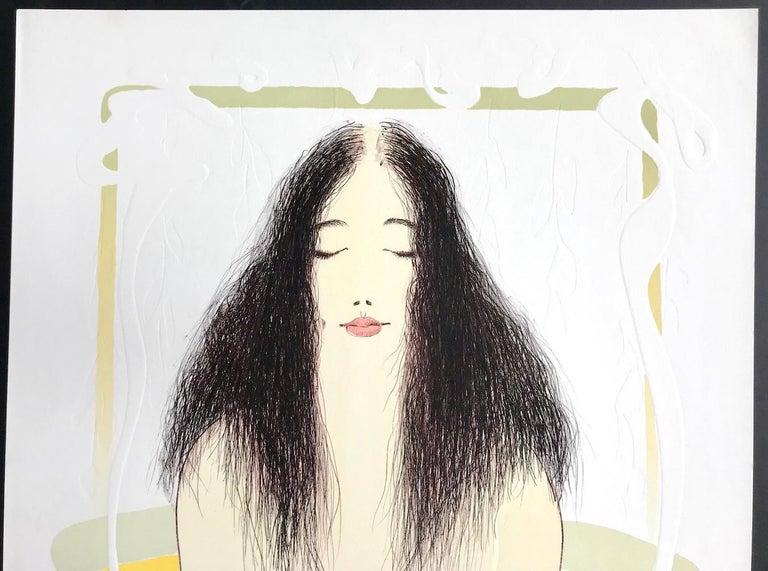 BATHTUB MEDITATION Signed Lithograph, Female Nude Bath Portrait, Art Nouveau  - Print by Frank Gallo