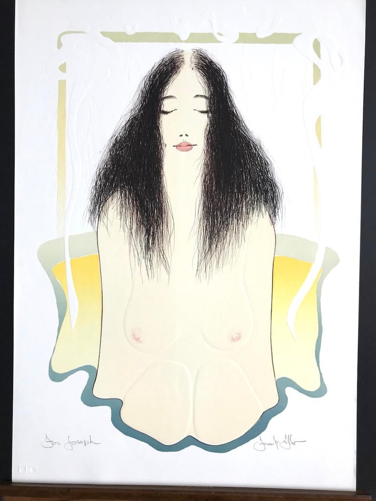 Bathtub Meditation is a hand printed, original limited edition lithograph by the American artist Frank Gallo. A tranquil, peaceful female bath portrait depicting a long black haired, nude woman, her youthful delicate form partially submerged in a