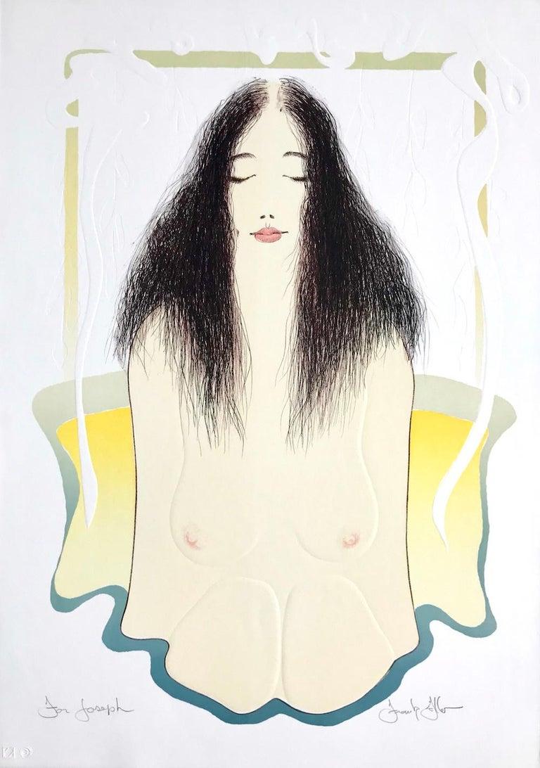 Frank Gallo Portrait Print - BATHTUB MEDITATION Signed Lithograph, Female Nude Bath Portrait, Art Nouveau