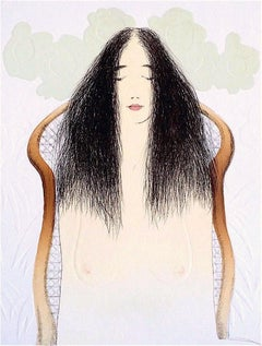 BREAKFAST MEDITATION Signed Lithograph, Natural Forms, Peaceful Female Portrait
