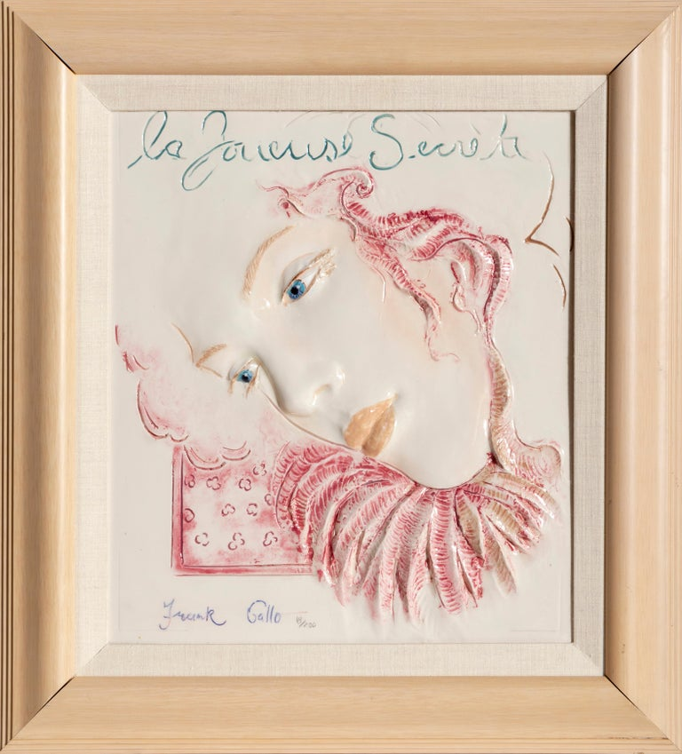 Artist: Frank Gallo, American (1933 - ) Title: La Jousese Secret Medium: Ceramic Tile, signed, titled, and numbered Edition: 18/200 Size: 16 x 14 in. (40.64 x 35.56 cm) Frame: 23.5 x 21.5 inches