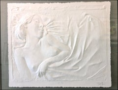 Sleeping Nude Cast White Paper Wall Sculpture