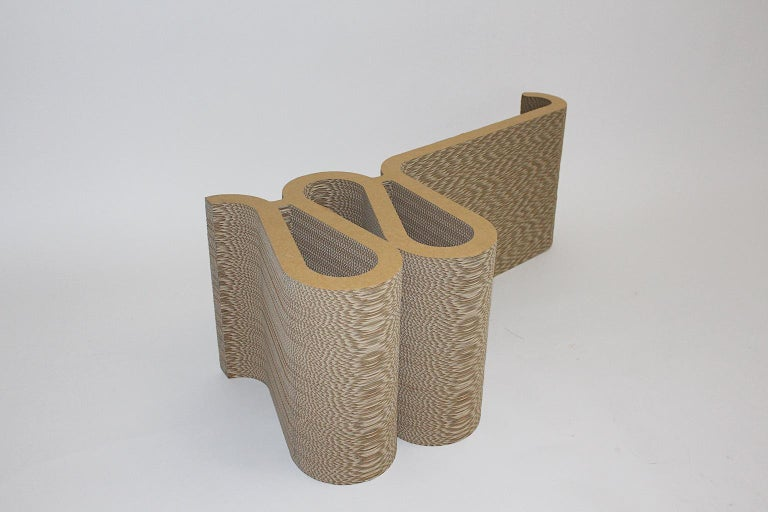 Frank Gehry Attributed Vintage Curved Cardboard Side Chair or Chair, 1970s For Sale 6