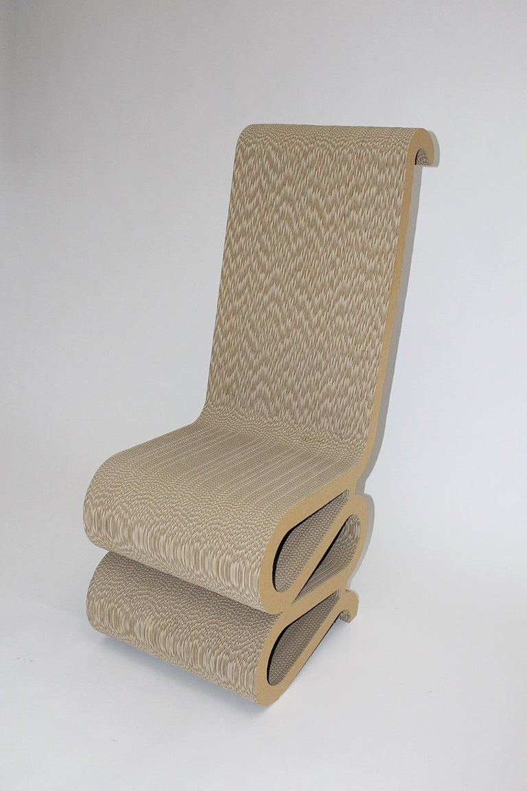 Modern Frank Gehry Attributed Vintage Curved Cardboard Side Chair or Chair, 1970s For Sale