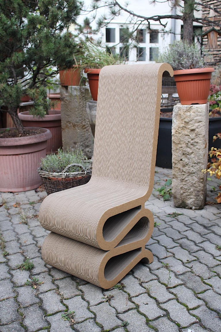 Paper Frank Gehry Attributed Vintage Curved Cardboard Side Chair or Chair, 1970s For Sale