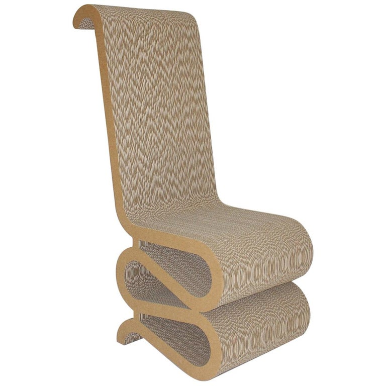 Frank Gehry Attributed Vintage Curved Cardboard Side Chair or Chair, 1970s For Sale