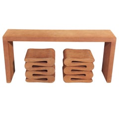 Frank Gehry Console Table and Wiggle Stools
